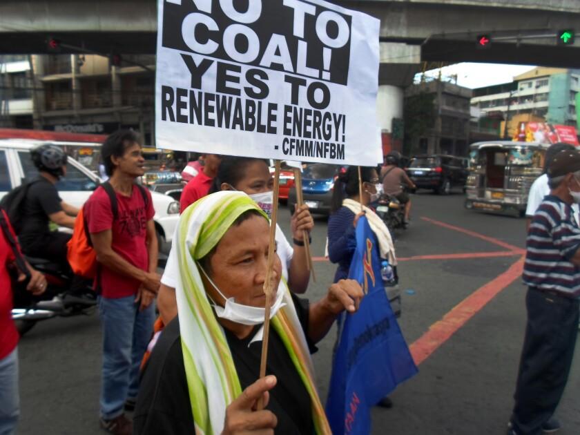 Gloria Capitan Capitan at a climate march in Manila in November, 2015. Capitan, a Philippines grandm
