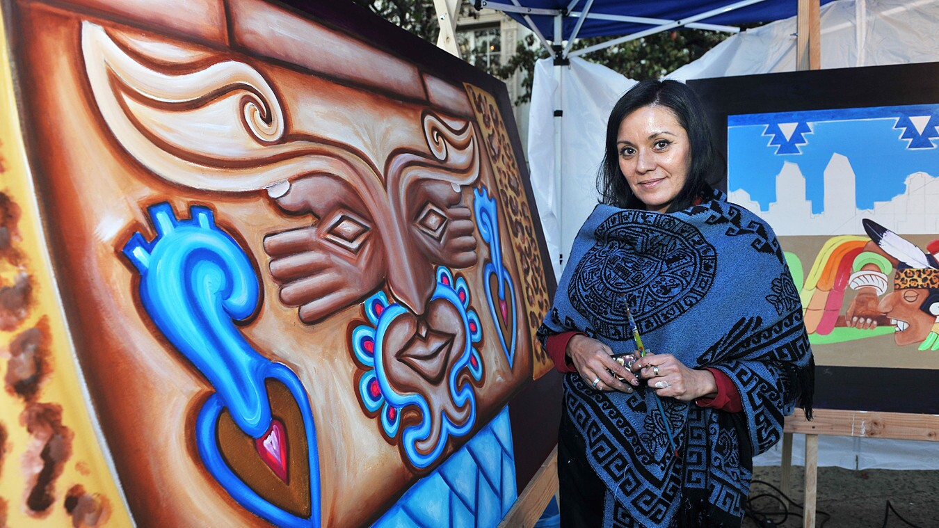 """Art-lovers were able to watch six local artists create works in front of The San Diego Museum of Art inspired by the exhibition """"Modern Masters from Latin America: The Pérez Simón Collection"""" on Friday, Feb. 9, 2018."""