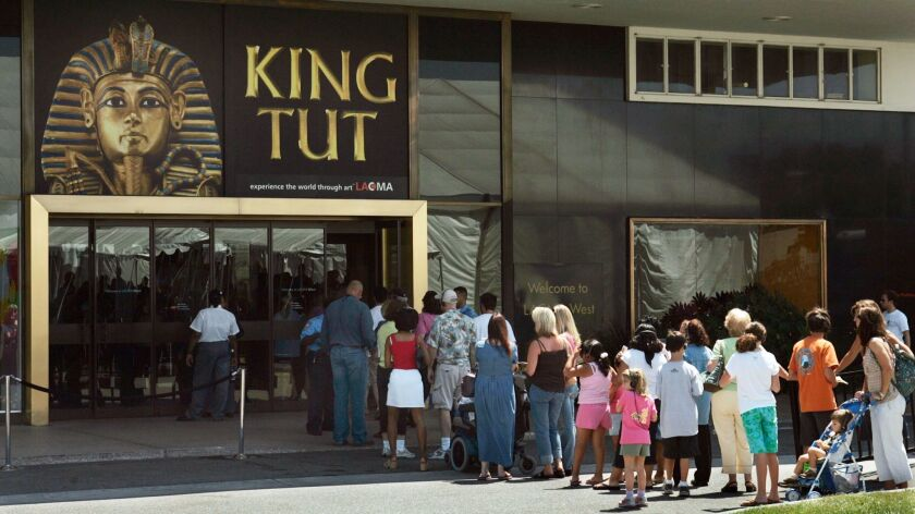 """People line up for the """"Tutankhamun and the Golden Age of the Pharaohs"""" exhibit at the Los Angeles County Museum of Art in July 2005. A new exhibit of King Tut artifacts will kick off in Los Angeles at the California Science Center in March."""