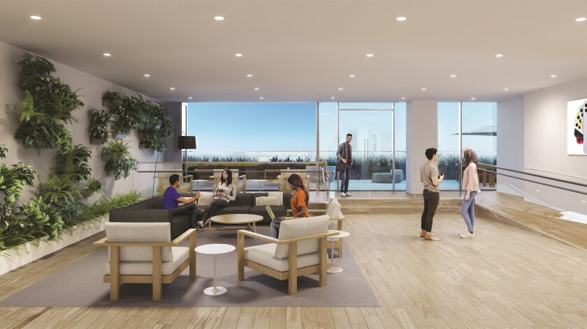 Rendering of one of Apple's San Diego office locations. Apple said Monday it is boosting its San Diego workforce to 5,000.