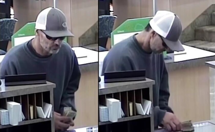 Authorities said this man robbed a U.S. Bank branch teller Monday afternoon in the Fletcher Hills area of El Cajon.