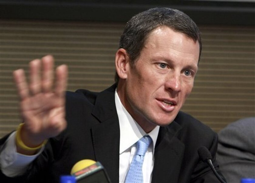 FILE - In this May 5, 2009 file photo, Lance Armstrong speaks during a press conference following a meeting with Italian Foreign Minister Franco Frattini, in Rome. Armstrong is facing a Wednesday, Feb. 20, 2013  deadline to decide whether he will meet with U.S. Anti-Doping Agency officials and talk