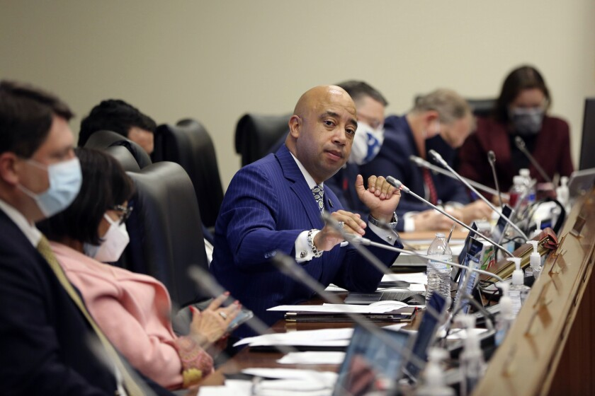 State Rep. Cezar McKnight, D-Kingstree, speaks during a House Judiciary Committee meeting on a bill that would likely ban all abortions in the state,. Tuesday, Feb. 9, 2021 in Columbia, S.C. The bill has already passed the Senate. (AP Photo/Jeffrey Collins)