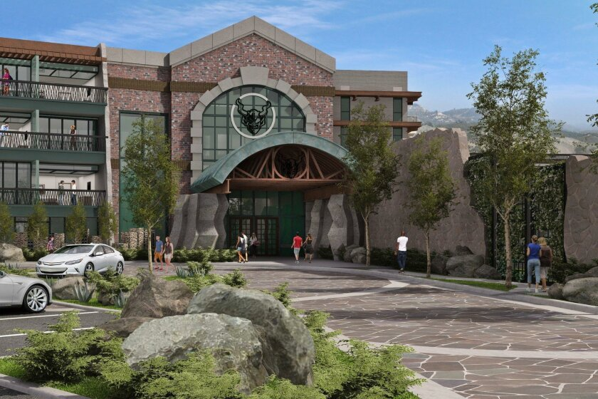 The four-story Stone Hotel would include 99 rooms and suites and be located just east of the Stone Brewing World Bistro & Gardens in Escondido.