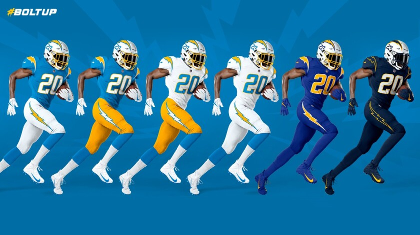 Los Angeles Chargers unveil new uniforms for the 2020 season.