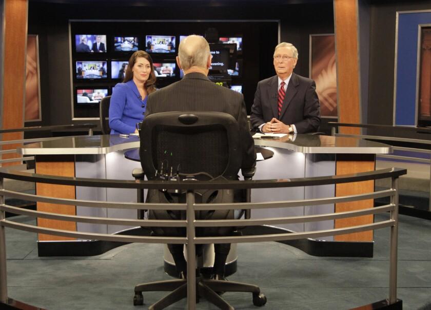 Senate GOP Leader McConnell And Democratic Challenger Grimes Debate In Lexington