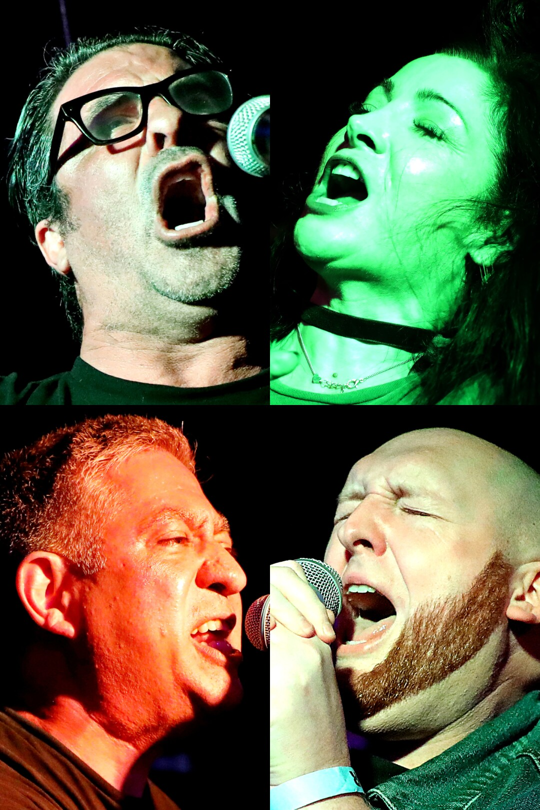 A mugshot of punk rock karaoke singers Adam Barker, Jessica, Rob Simandson and Vince Velasco.