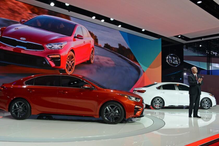 Orth Hedrick, Vice President Product Planning Kia Motors America, reveals the all-new 2019 Kia Forte - 2018 NAIAS - Detroit