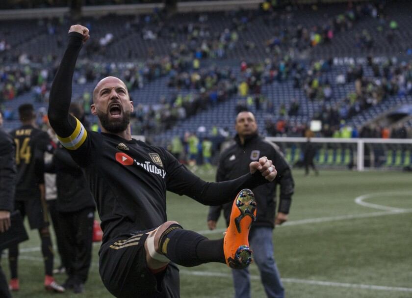 SEATTLE, WA - MARCH 4: Laurent Ciman #23 of Los Angeles FC celebrates after a match against the Seattle Sounders at CenturyLink Field on March 4, 2018 in Seattle, Washington. Los Angeles FC won 1-0.