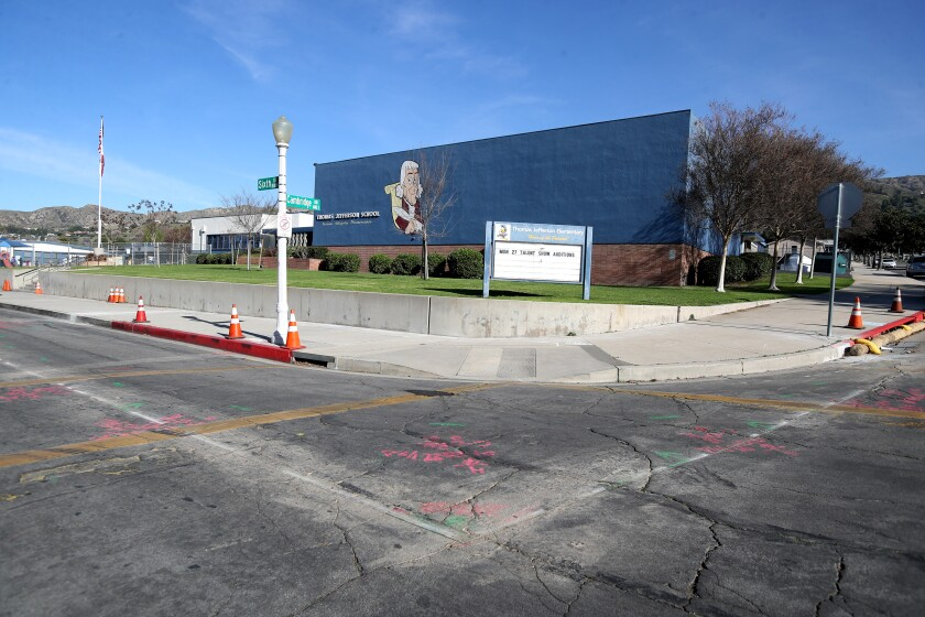 Road and sidewalk cuts are shown at Jefferson Elementary for bump-outs that are being built at this and two other local schools as part of the launch of a program called Safe Routes to School, which is designed to channel traffic better in Burbank.