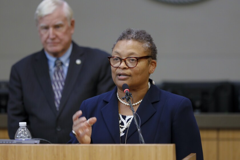 Wilma J. Wooten, Public Health Officer for the County of San Diego, at a news conference earlier this year.