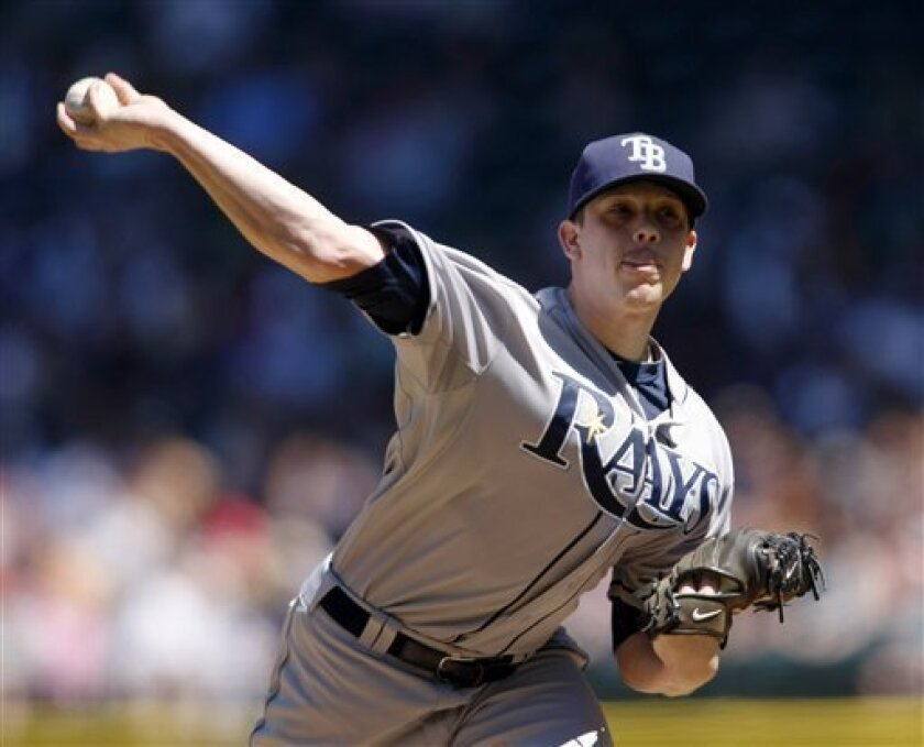 Tampa Bay Rays starting pitcher Jeremy Hellickson in action against the Seattle Mariners during the second inning of a baseball game, Saturday, June 4, 2011, in Seattle. (AP Photo/John Froschauer)
