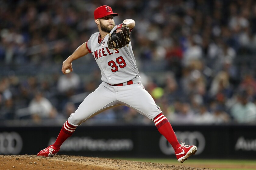 Angels pitcher Luke Bard delivers against the Yankees on Wednesday.