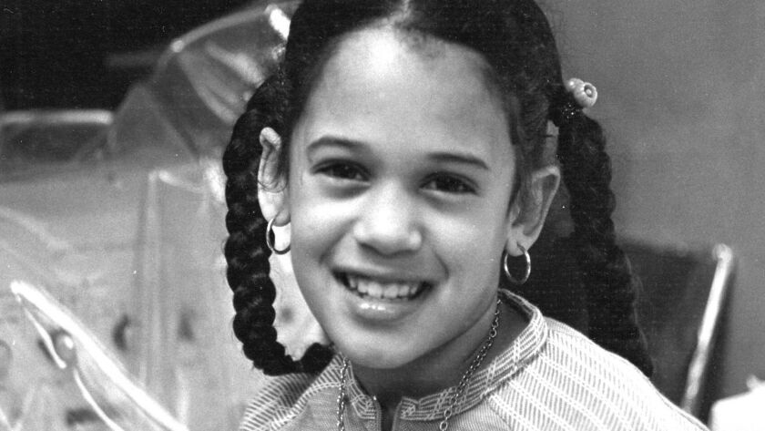 This undated photo provided by the Kamala Harris campaign in April 2019 shows her as a child at her