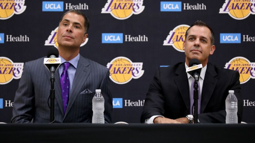 EL SEGUNDO, CALIF. -- MONDAY, MAY 20, 2019: Rob Pelinka, left, general manager, and Frank Vogel, new