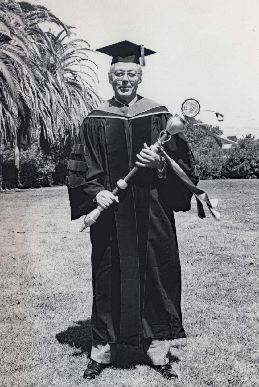 Jim Jackson at the first graduation ceremony held by Point Loma College in 1973.