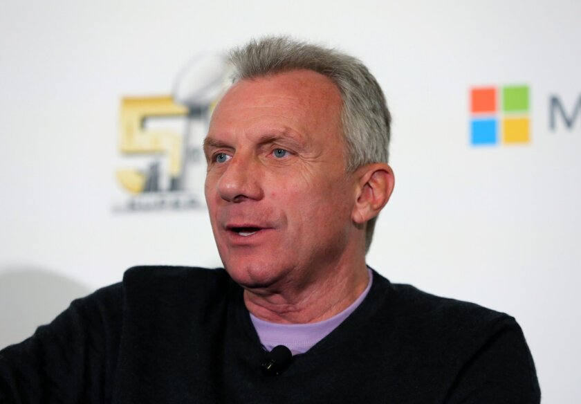 Joe Montana speaks to reporters during a panel at Super Bowl 50 in San Francisco in 2015.