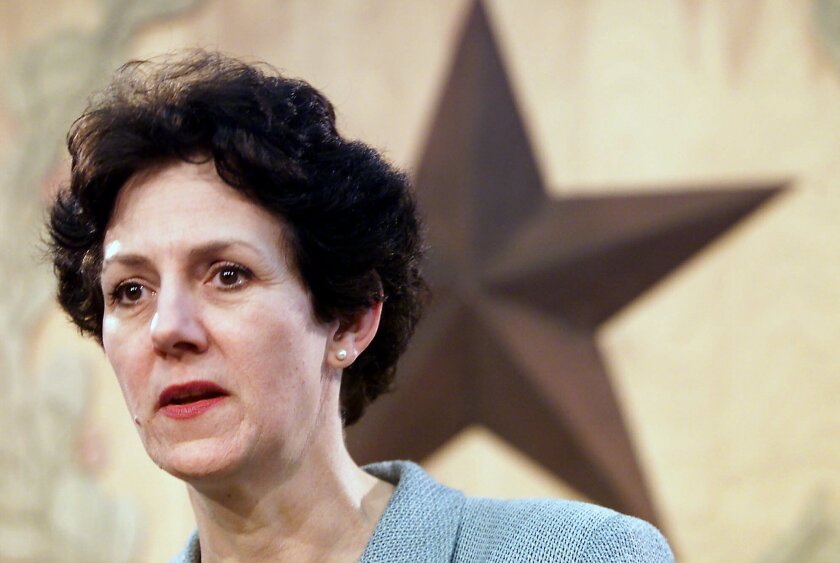 Susan Combs, former Texas agriculture commissioner, at a news conference at the Capitol in Austin, Texas, on Wednesday, Feb. 14, 2001.