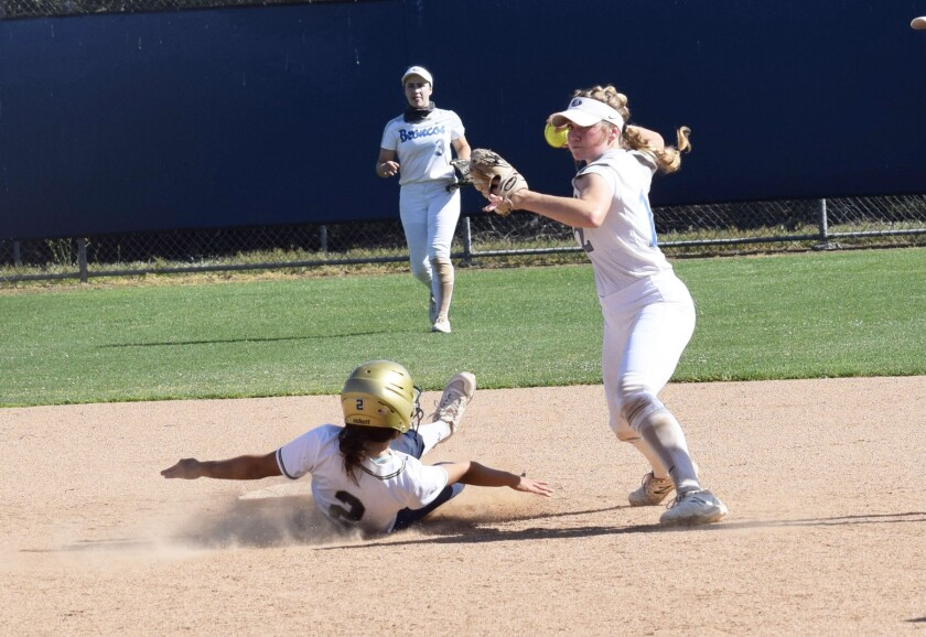 Keely Goushá, on right, ready to throw the ball during a Rancho Bernardo High softball game.