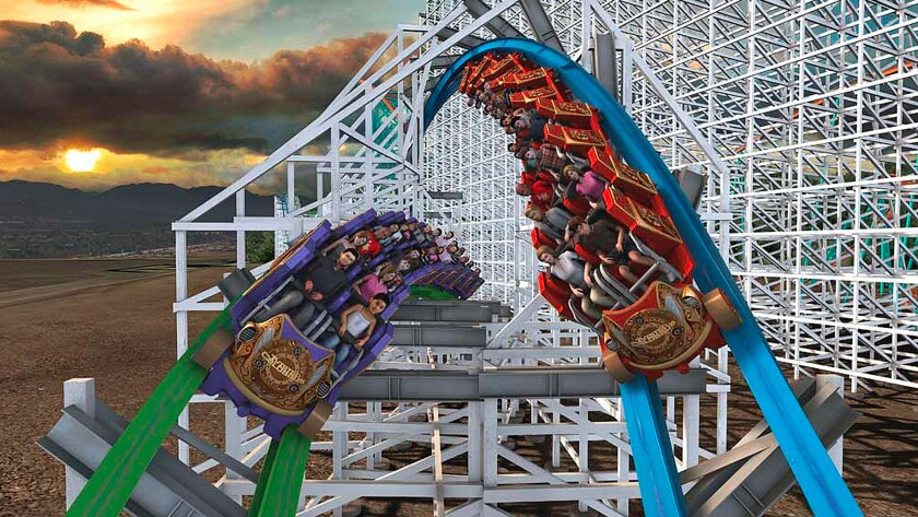 The Twisted Colossus wood-steel hybrid coaster at Six Flags Magic Mountain is among the top new attractions debuting in 2015.