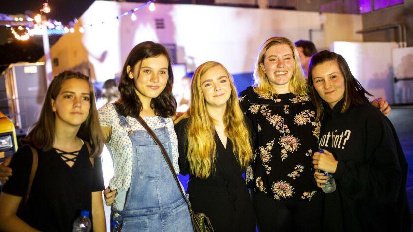 LOS ANGELES, CALIF. - JULY 11: Students, Kaylee Leffler, Emily Cliborn, 14, Elizabeth Heuer, 14, and