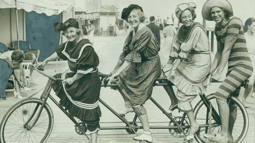 Bicycle built for four at a Long Beach, NY, cycling party.