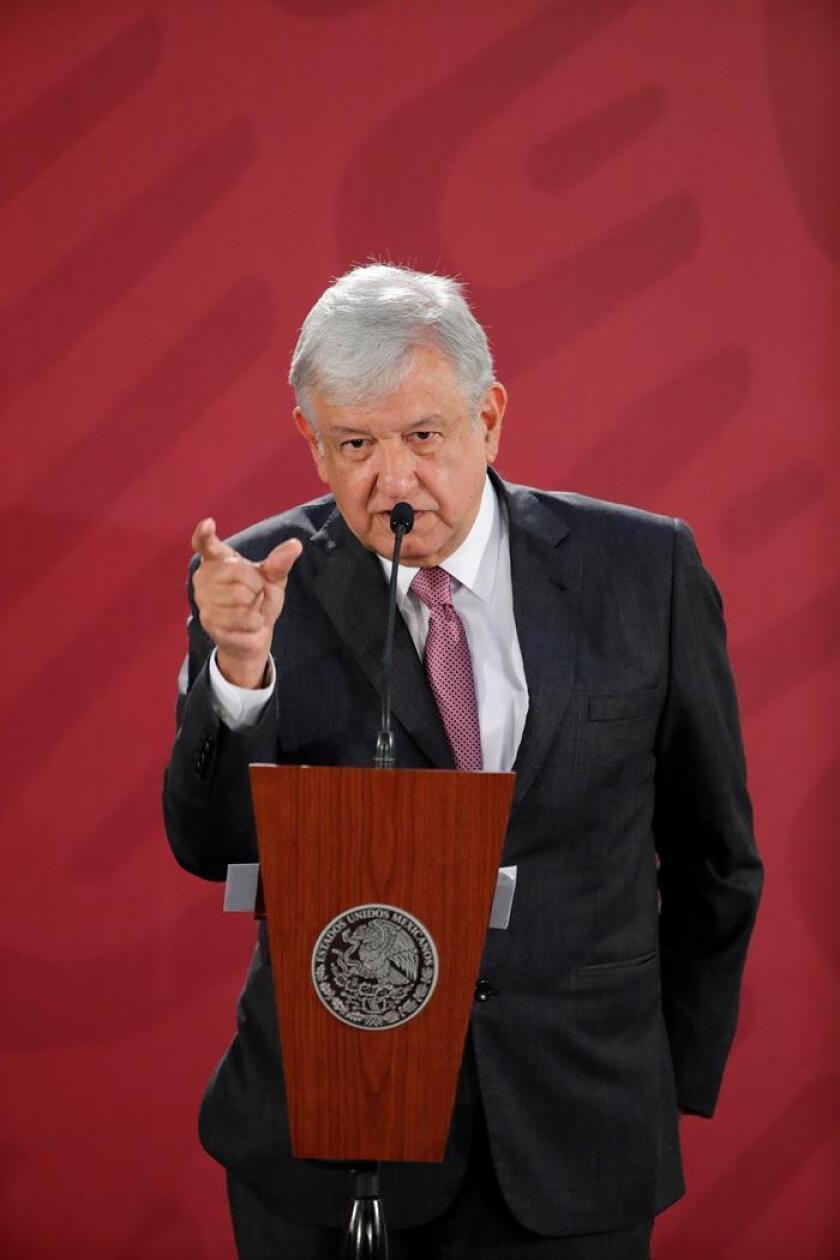 El presidente de México, Andrés Manuel López Obrador, ofrece hoy una rueda de prensa en el Palacio Nacional, en Ciudad de México (México). EFE