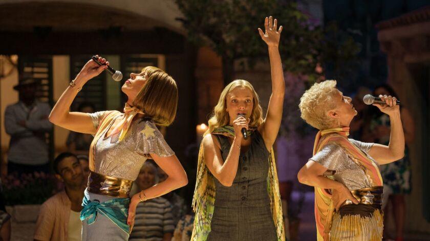 "(L to R) Tanya (CHRISTINE BARANSKI), Sophie (AMANDA SEYFRIED) and Rosie (JULIE WALTERS) in ""Mamma Mi"