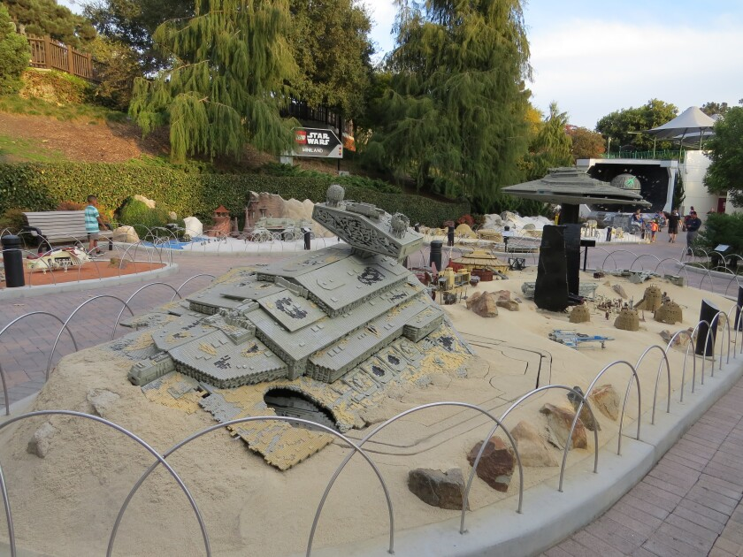 Huge Lego brick models of Star Wars spaceships decorate the Star Wars Miniland attraction, which will be closing at Legoland California on Jan. 6.