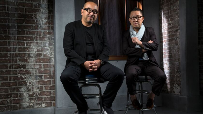 UCLA's Hitoshi Abe, left, with Qingyun Ma of USC — both are leaving their posts as architecture dean