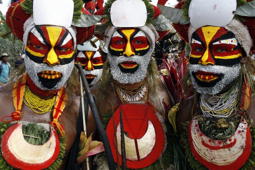 Nebilyer warriors in a file photo in 2006. Papua New Guinea is considered the world's most linguistically diverse nation, with more than 800 languages spoken, according to the World Bank.