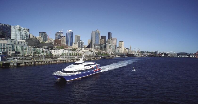 The Victoria Clipper ferry from Seattle to Victoria, Canada, takes about three hours.