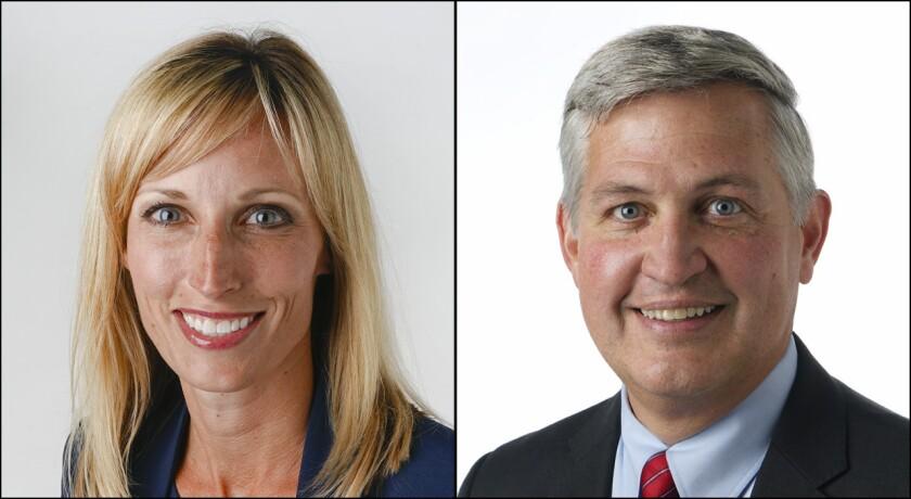 Encinitas Mayor Kristin Gaspar leads Supervisor Dave Roberts in campaign financing.