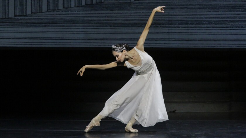 """Diana Vishneva as Cinderella in the Mariinsky Ballet's """"Cinderella"""" at the Dorothy Chandler Pavilion in downtown Los Angeles on Oct. 8."""