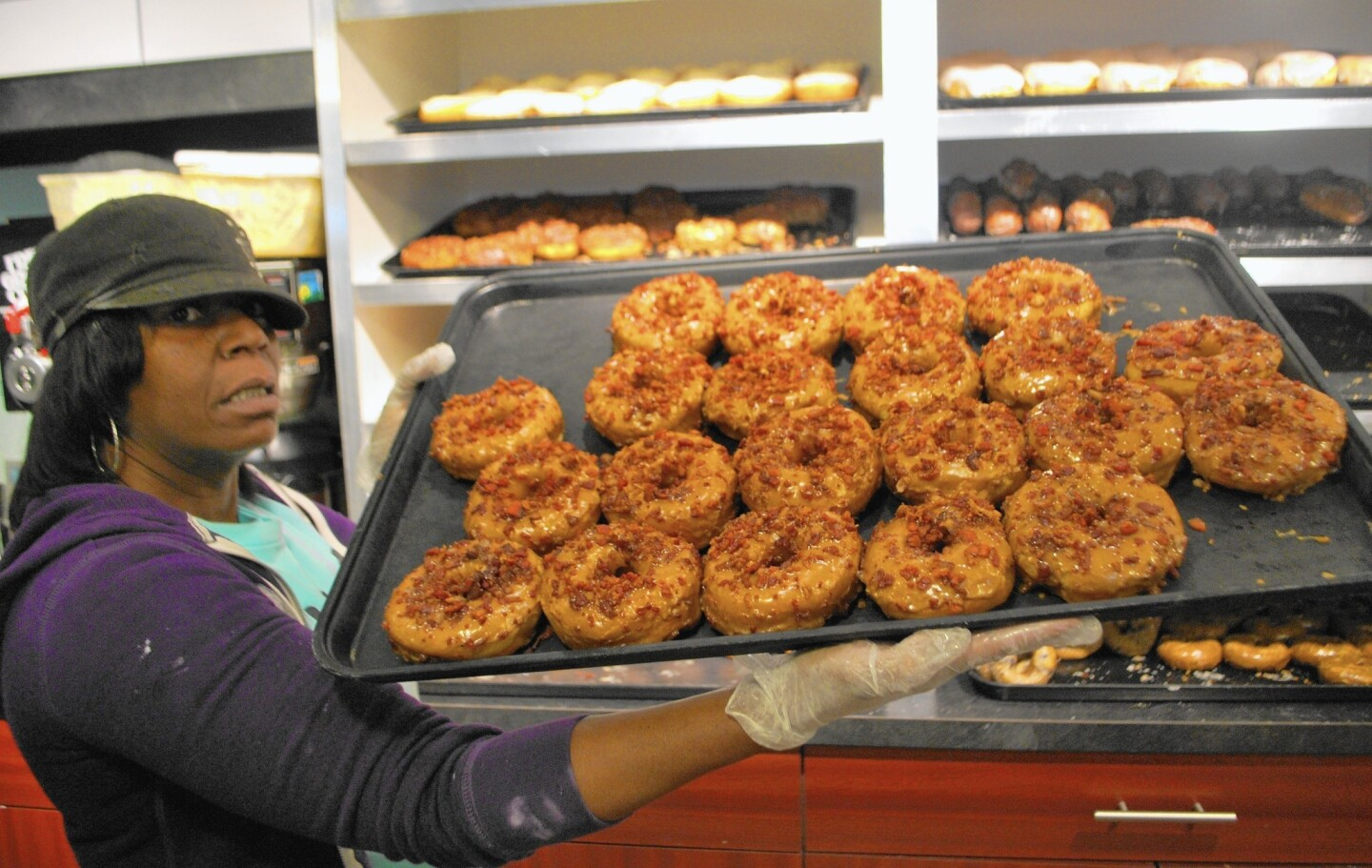 Bacon and maple syrup doughnuts at Holtman's Donuts in Cincinnati.