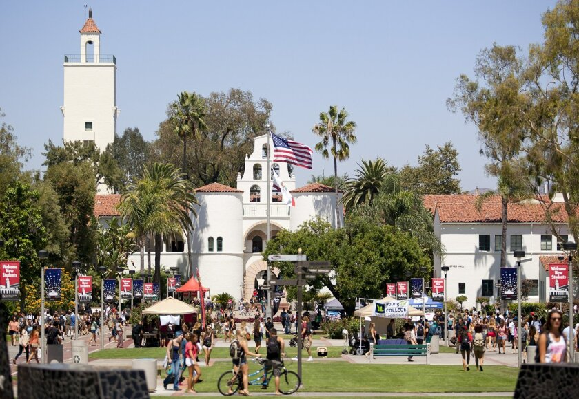 The outside of SDSU's Hepner Hall had several stands inviting students to join campus organizations as well as information booths for students with questions.