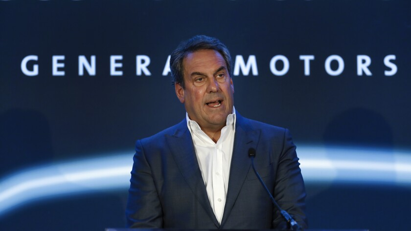 FILE- In this Jan. 27, 2020 file photo, Mark Reuss, president of General Motors, speaks at the GM Detroit-Hamtramck Assembly plant in Hamtramck, Mich. Reuss said in a weekend interview with The Associated Press that his company plans to announce more U.S. battery factories later this week. Reuss gave no details of where the factories would be located or exactly what they would manufacture. (AP Photo/Paul Sancya, File)