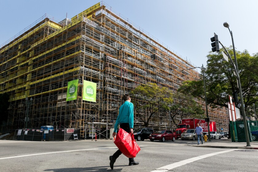 A 700-unit apartment complex under construction in downtown Los Angeles this year.