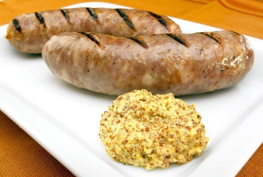 Hard cider mustard makes a great condiment for grilled bratwurst.