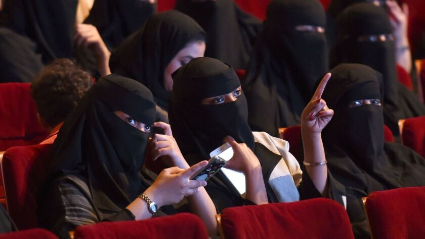 Saudi women attend a screening at a short film festival in Riyadh in October 2017. Saudi Arabia recently lifted a 35-year ban on movie theaters.