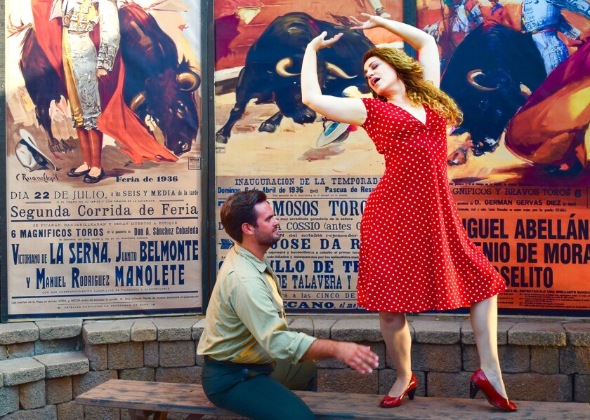 """Dane Suarez and Nora Graham-Smith costar in Pacific Opera Project's staging of Bizet's """"Carmen"""" at the Ford Theatres."""