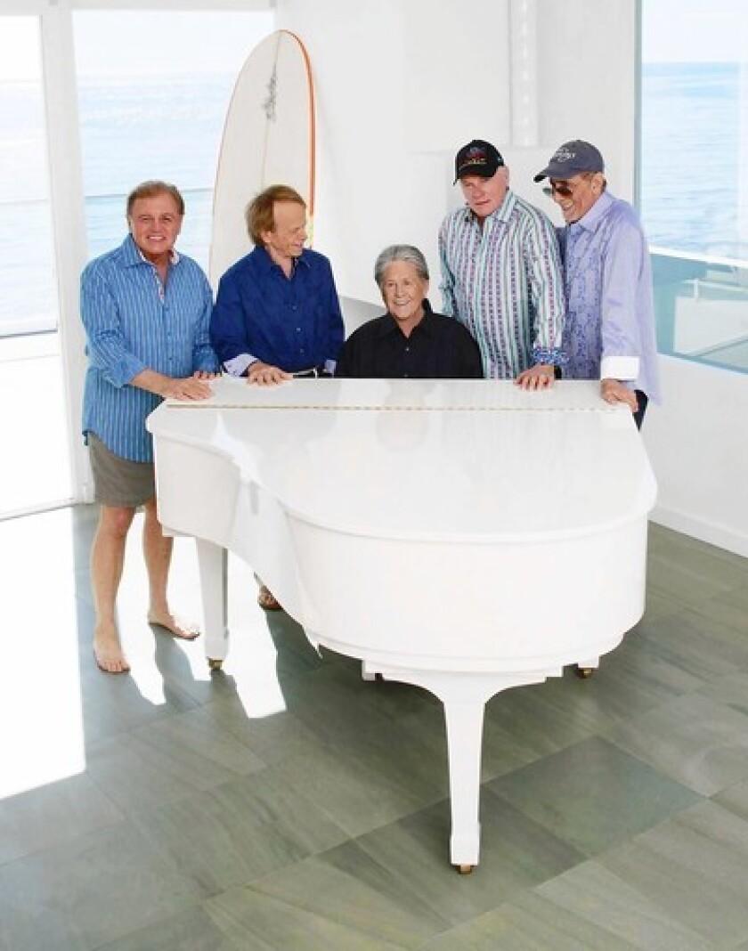 The Beach Boys at their Malibu beach house in February.