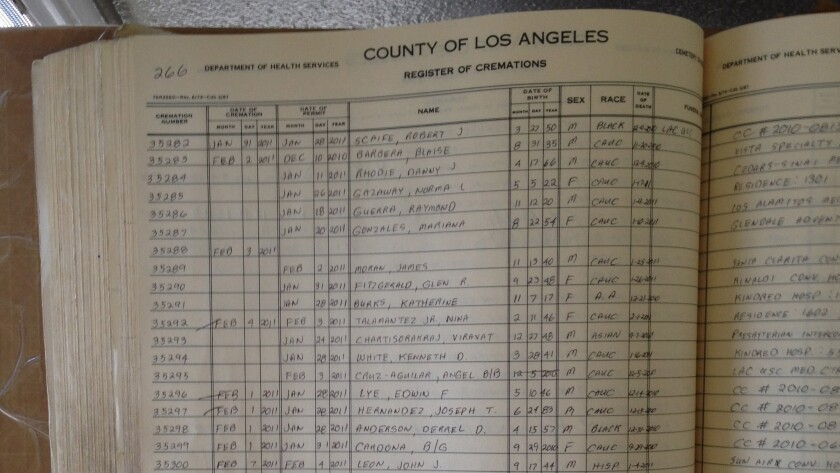 Los Angeles County record of cremations ledger