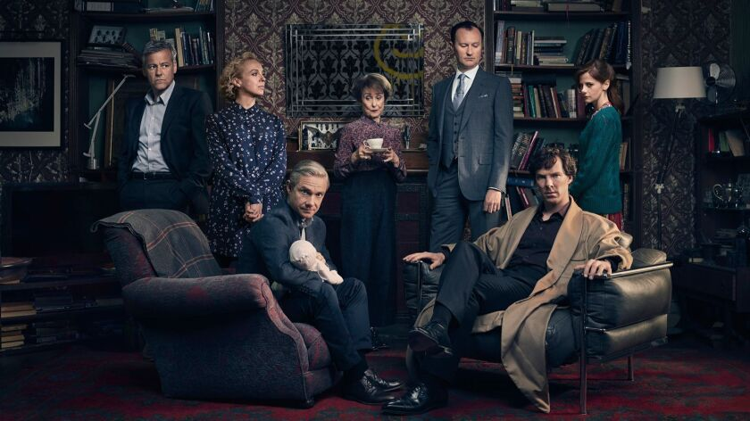 "The cast of ""Sherlock,"" from left: Detective Inspector Lestrade (Rupert Graves), Mary Watson (Amanda Abbington), John Watson (Martin Freeman), Mrs. Hudson (Una Stubbs), Mycroft Holmes (Mark Gatiss), Sherlock Holmes (Benedict Cumberbatch) and Molly Hooper (Louise Brealey)."