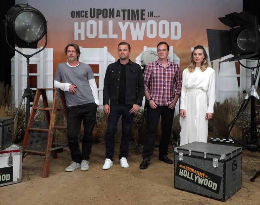 """DiCaprio, Pitt y Robbie alaban la """"energía"""" y pasión """"purista"""" de Tarantino"""