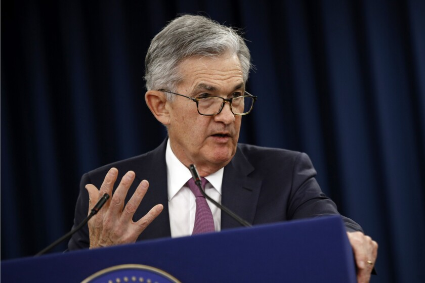 Federal Reserve Board Chairman Jerome H. Powell speaks at a news conference following a policy meeting in May.