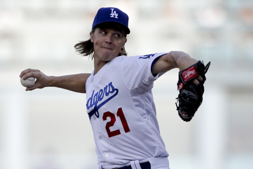 Dodgers' Zack Greinke pitches against the New York Mets on Oct. 15.