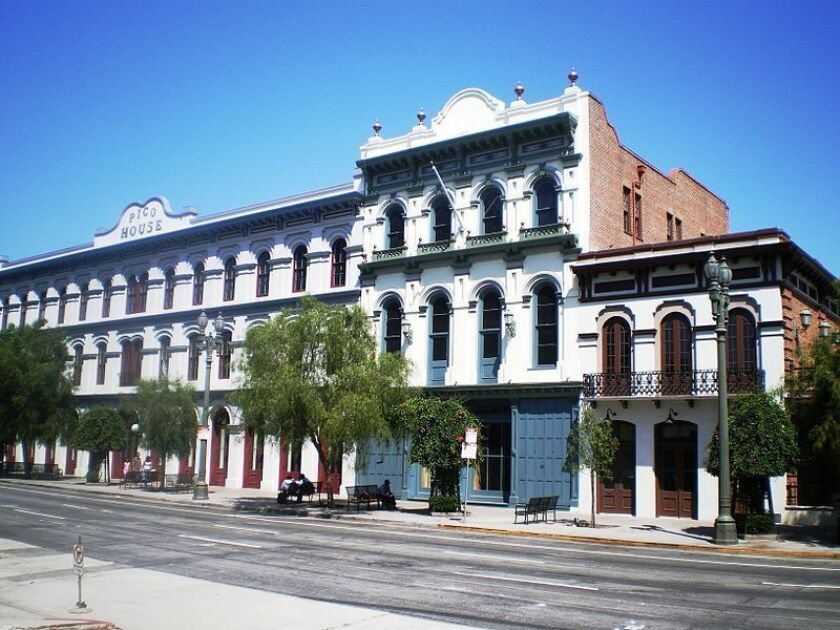 The Merced Theater, center, was built in 1870 and is one of the oldest structures in Los Angeles.
