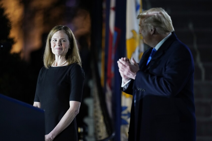 President Trump with Amy Coney Barrett at the White House
