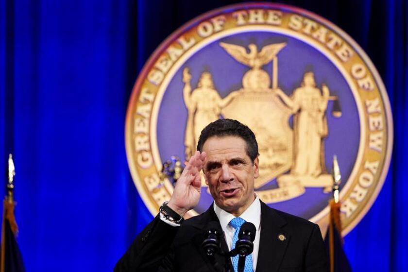 New York State Governor Andrew Cuomo delivers a speech after taking the oath of office administered by Chief Judge of the New York Court of Appeals Janet DiFiore during an inauguration ceremony on Ellis Island in New York, New York. EFE/EPA/FILE